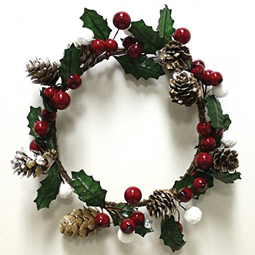 A Cheerful Giver Holly Berries & Pinecones Winter Candle Ring by ()