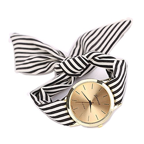 ODGear watches, Women Stripe Floral Cloth Quartz Dial Bracelet Wristwatch Watch (Black)