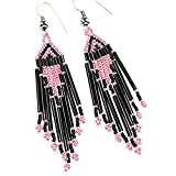 La vivia Metallic Pink Black Bugle Seed Beads Beaded Earrings- E-15-SB-22