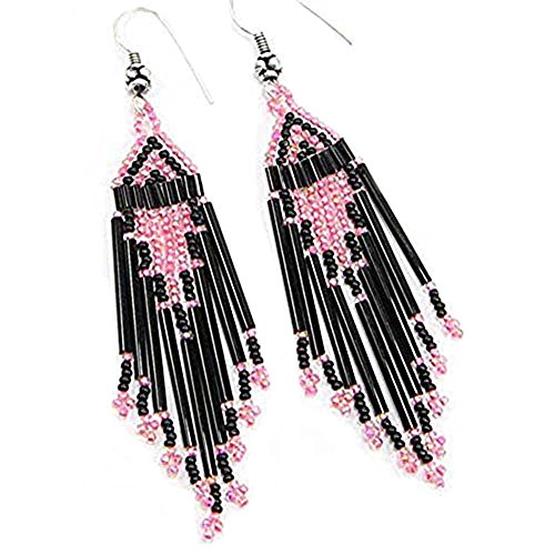 La vivia Handmade Metallic Pink Black Bugle Seed Beads Beaded Earrings- E-15-SB-22
