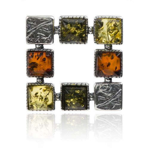 Sterling Silver Multicolor Amber Colorful Squares Pendant