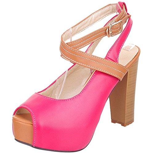 TAOFFEN Mujer Moda Correa de Tobillo Peep Toe Tacon Ancho Alto Plataforma Sandalias con Hebilla Rojo