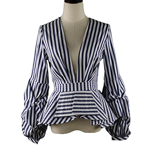 [Aknoer Thame Blouse Shirts Ruffles Trim Women Sexy V Neck Summer Fashion New Tops Clothing Plus Size 4Xl Dark Blue Color] (Group Dressing Up Ideas)