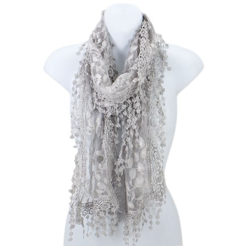 AN Fashion Leafy Lace Scarf Womens With Tassels Silver - Print Scarf Lace