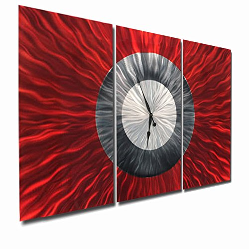 Massive Red, Silver, Black Abstract Metal Wall Clock - Red metal wall art