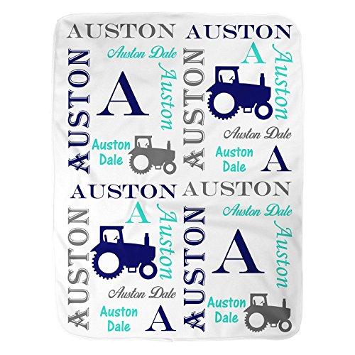 - Sobilar Personalized Baby Blanket ~ Tractor Blanket ~ Monogram Blanket ~ Farm Blanket ~ Photo Prop ~ Name Blanket (30x40)
