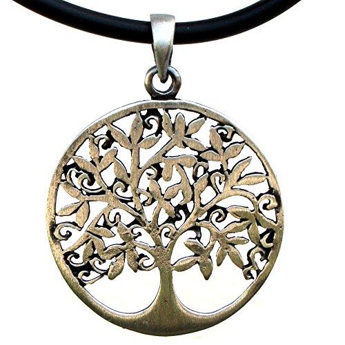 OhDeal4U Tree of Life Celtic Pagan Prosperity Pewter Charm Amulet Pendant W Black PVC Cord