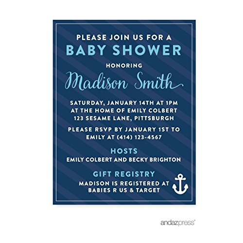 Andaz Press Nautical Baby Shower Collection, Personalized Invitations Custom Made, 20-pack