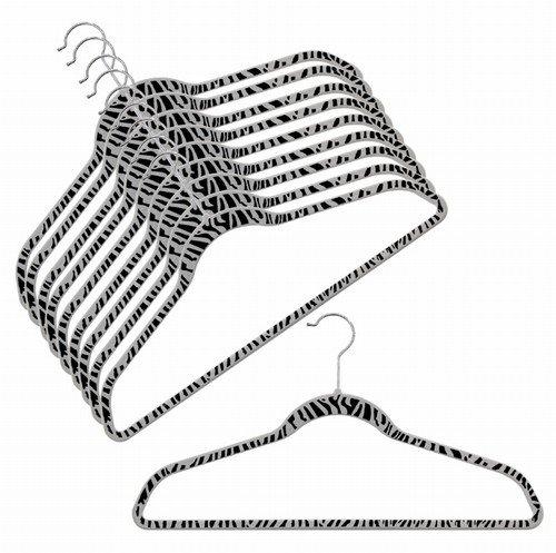 ULTRA-SLIM VELVET SHIRT/PANT HANGERS - SET OF 100 - ZEBRA PRINT