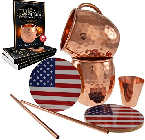 Moscow Mule Mugs - Lab Certified 100% Copper - Hammered Barrel Gift Set with Accessories Kit and Recipe Book - Free Storage Box - Solid 16 oz Copper Cups Engraved with Mule - Best for Delicious Drinks