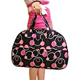 SODIAL(R) Fashion Waterproof Oxford Women bag Rose Red Circles Pattern with Black Bottom Travel Bag Large Hand Canvas Luggage Bags