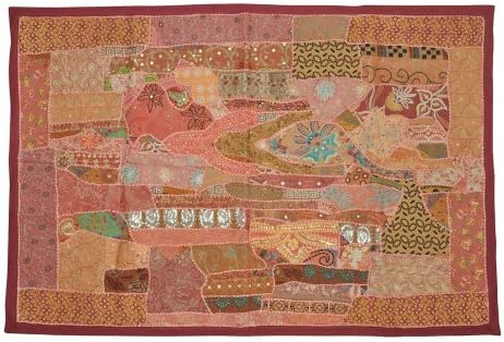 Traditional Home Decorative Wall Hanging Tapestry with Zari, Embroidery, Sequins Patchwork, 40 X 60 Inches Marron