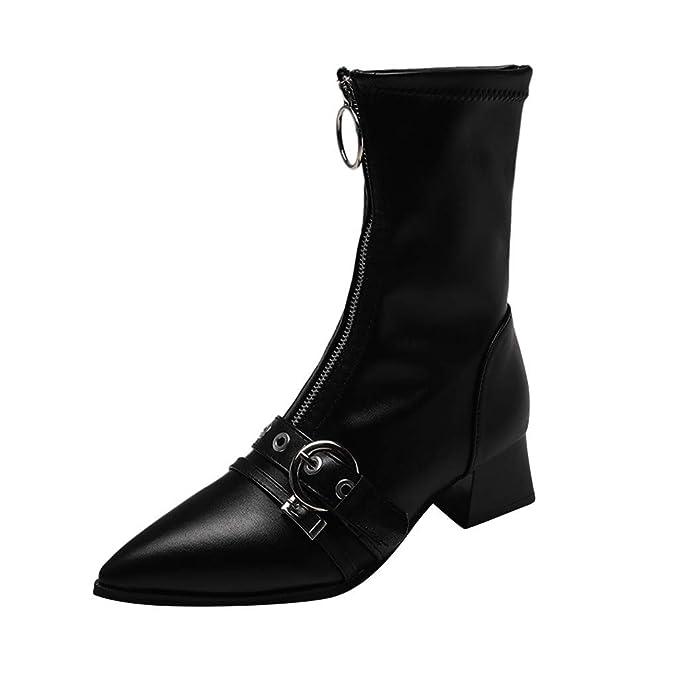 Otoño e Invierno Moda Puntiagudo Metal Hebilla Cremallera Botines Mujer Botas de tacón Locomotora Botas para Mujer Zapatos para Mujer MEIbax