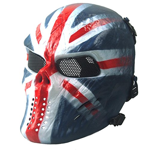 Euone Airsoft Paintball Full Face Skull Skeleton CS Mask Tactical Military Halloween (Blue) (Skeleton Halloween Mask)