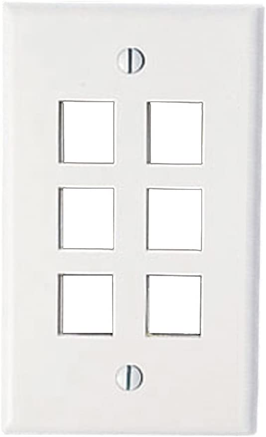 Bulk Packaged Single Gang Leviton 40806-BW QuickPort Wallplate 6-Port White