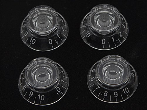 KAISH Set of 4 Clear Transparent LP Guitar Bell Knobs Top Hat Knob with White Numbers Fits Epiphone Les Paul or SG