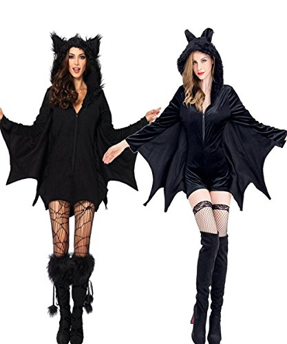 Costume Ladies Halloween Devil (Halloween Bat Costume for Women Adult Hooded Cosplay Outfit Devil Dark Angel)