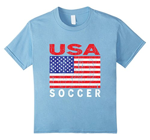 Kids Usa Soccer  Us Flag  Us Soccer T Shirt 4 Baby Blue