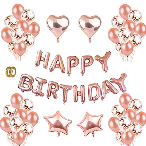 Rose Gold Happy Birthday Balloons Kit Decorations Balloon Letters Banner 12Latex