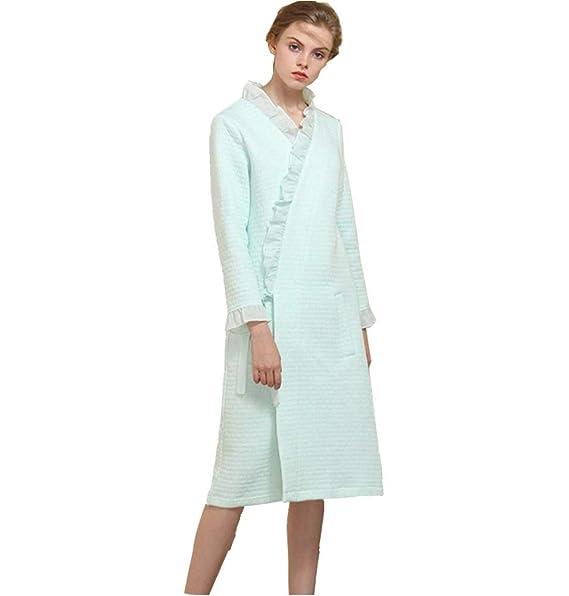 Albornoz para Mujer Niñas, Albornoz Kimono Tejido de Encaje Trim/Cardigan Bata de Sauna Manga Larga Abrigo de algodón Batas: Amazon.es: Ropa y accesorios