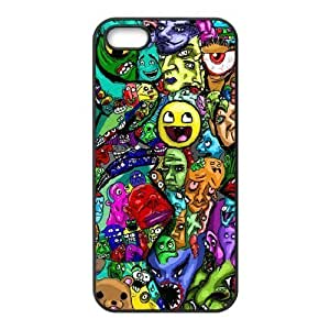 Personalized Solid Silicone Material iPhone 5s Cover Colorful Trippy Smiling Face Pattern Design Cases for iPhone 5 5s Fashion and High Quality