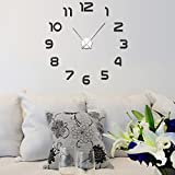 Eshion Modern DIY Large Number Wall Clock 3d Mirror Surface Wall Sticker Clock Home Office Room Art Decor Picture