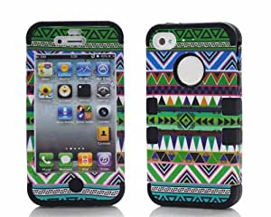 BONAMART ® Negro 3N1 Hybride Verde Multicolor Tribu Silicona Caucho Carcasa Caso Funda Rígido Case Cover Para Apple iPhone 4 4S 4GS