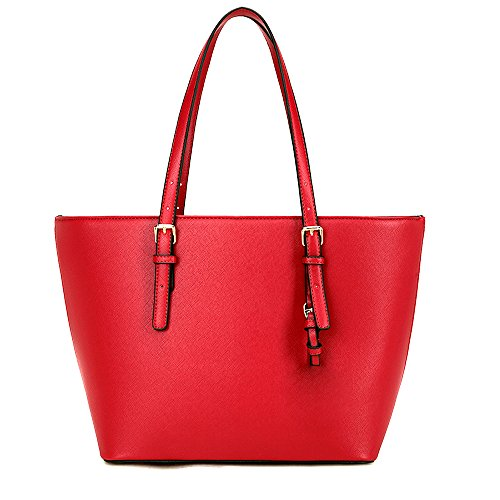 Ladies Shopper PU Laptop Tote Bag Teacher Handbags Adjustable Large LS Candy Leather Bags Square Color Red with Handle dPZq4wnH5