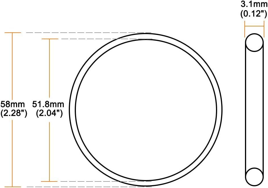 sourcing map Juntas t/óricas Caucho fl/úor 30,8 mm x 37 mm x 3,1 mm Anillos de sellado Junta de sellado