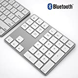 Bluetooth Numeric Keypad, IKOS Portable Wireless Bluetooth 34-key External Number pad with Multiple Shortcuts for Computer Laptop Windows Surface Pro Apple iMac Mackbook iPad Android Tablet Smartphone (34-Keys Bluetoth Keypad, White)