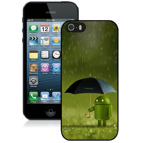 Coque,Fashion Coque iphone 5S Android Robot Doll Rain Noir Screen Cover Case Cover Fashion and Hot Sale Design