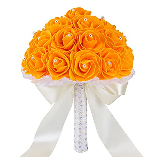 Wedding Bride Holding Bouquets Roses with Pearl Diamond Ribbon for Home Office Decoration and -