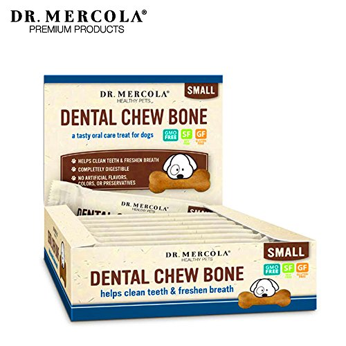 Dr. Mercola Dental Chew Bones - 12  Pack - Small Dogs Up To 25 lbs - Helps Clean Teeth and Freshen Breath - A Completely Digestible Tasty Oral Care Treat for Dogs