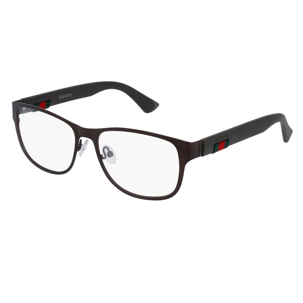 Gucci GG 0013O 004 Brown Metal Square Eyeglasses 55mm by Gucci
