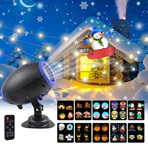 UOOYOO Christmas Projector Lights, 10 Slides Animated Projector Outdoor Light Waterproof Landscape Lighting for Halloween, Party, Thanks Giving, Birthday, with Wireless Remote [並行輸入品] B07R7L1QT4