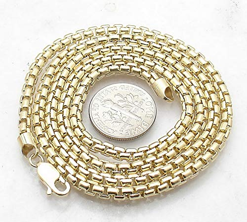 Necklace Gold Box 10k Venetian (Hemau 3.5mm All Shiny Venetian Round Box Chain Necklace Real 10K Yellow Gold 16~30 | Model NCKLCS - 2221 | 21)