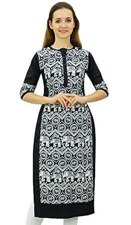 Phagun Women's Designer Straight Black Kurta 3/4 Sleeve Printed Casual Kurti-10