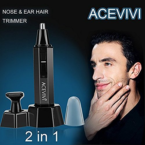 Guisee Nose Trimmer Mustache Electric Shaver Dual-Edge Blades 2-in-1,Plus Sideburn Trimmer, Wireless Electric Nose Hair Trimmer Kit for Men and Women, Perfect Gift for Father\'s Day