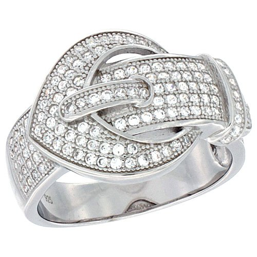 Ladies Sterling Silver Belt Buckle Micro Pave CZ Ring 9/16 inch wide, size 7 ()