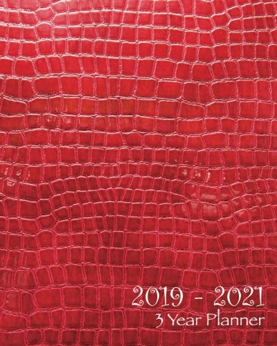 2019-2021 Three Year Planner: Red Faux Leather-36 Months Planner and Calendar,Monthly Calendar Planner, Agenda Planner and Schedule Organizer, Journal ... years (3 year calendar/3 year diary/8 x 10)
