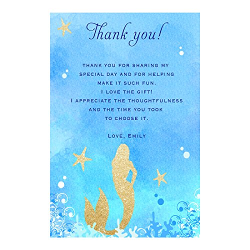 30 Thank You Cards Mermaid Baby Shower Birthday Watercolor Photo Paper