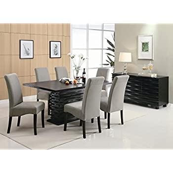 Coaster Home Furnishings Stanton Contemporary Dining Set With Dining Table  , 6 Grey Dining Chairs ,