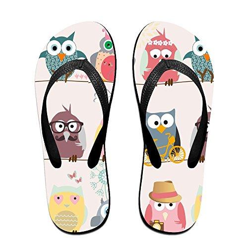 Unisex Owl Summer Strap Flip Flops Beach Slippers Platforms Sandal For Men Women Black SlYkR1D