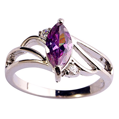 (Psiroy 925 Sterling Silver Created Amethyst Filled Marquise Shaped Promise Ring Size 10)