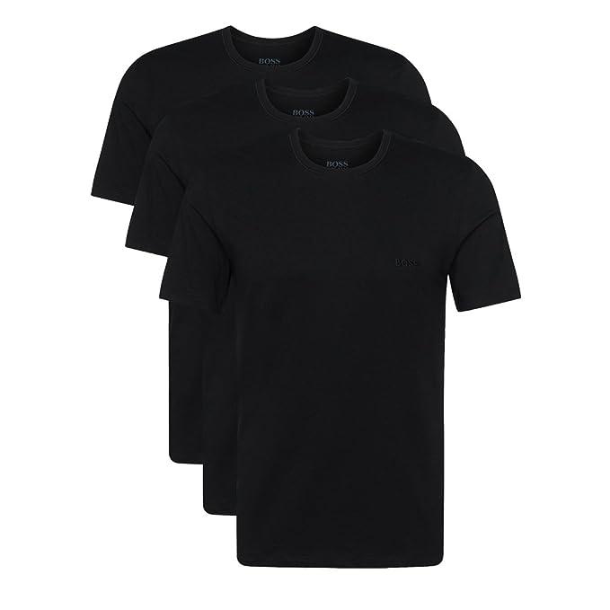 Hugo Boss - Juego de 3 camisetas (cuello redondo, manga corta, corte regular), color blanco o negro: Amazon.es: Ropa y accesorios