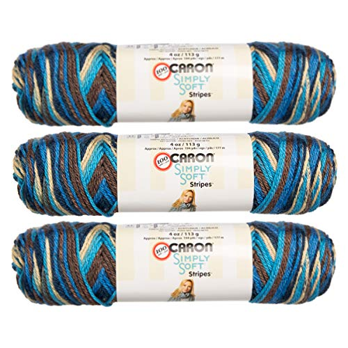 Caron (3 Pack Simply Soft Stripes 100% Acrylic Soft Churchill Downs Blue Brown Beige Yarn for Knitting Crocheting Medium #4