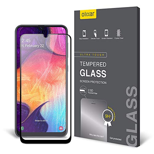 Price comparison product image Olixar Samsung Galaxy A50 / A50s Screen Protector - Tempered Glass 9H Rated - Shock Protection - Easy Application,  Card and Cleaning Cloth Included - Clear