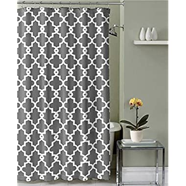 Geometric Patterned Shower Curtain 70-inch By 72-inch - GREY