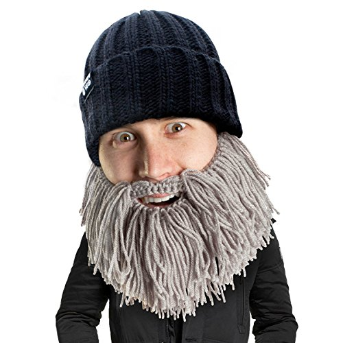 Beard Head Barbarian Vagabond Beanie - Funny Knit Hat and Fake Beard Facemask Grey -