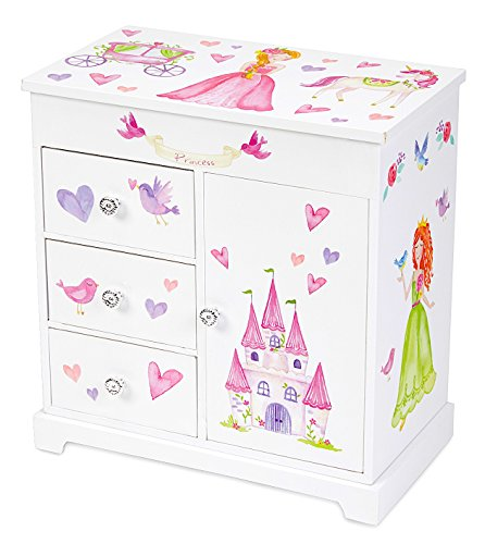 JewelKeeper Unicorn Musical Jewelry Box with 3 Pullout Drawers, Fairy Princess and Castle Design, Dance of the Sugar Plum Fairy Tune by JewelKeeper (Image #3)